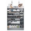 Grey shelving with adjustable (straight or bevelled edge) shelves